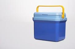 Όμορφο μπλε δοχείο ψύξης με το α yelllow λαβή επάνω Στοκ Φωτογραφίες