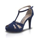 Όμορφο μπλε υψηλό παπούτσι γυναικείας μόδας τακουνιών που απομονώνεται Στοκ Εικόνες