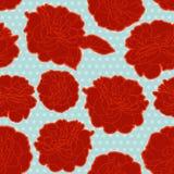 Όμορφο μπλε floral σχέδιο με τα κόκκινα τριαντάφυλλα απεικόνιση αποθεμάτων