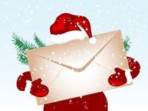 όμορφο νέο έτος επιστολών φακέλων Χριστουγέννων τόξων εορταστικό απεικόνιση αποθεμάτων