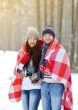 Όμορφο νέο ζεύγος που περπατά στο χιονώδες χειμερινό δάσος Στοκ εικόνες με δικαίωμα ελεύθερης χρήσης