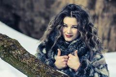 Όμορφο νέο κορίτσι με τις κουρτίνες το χειμώνα στο γκρίζο παλτό στοκ εικόνα