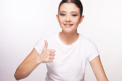 Όμορφο νέο κορίτσι με το στήριγμα Στοκ εικόνα με δικαίωμα ελεύθερης χρήσης