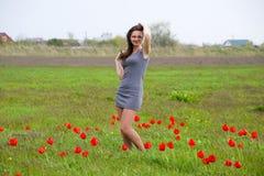 Όμορφο νέο κορίτσι νεράιδων σε έναν τομέα μεταξύ των λουλουδιών των τουλιπών Πορτρέτο ενός κοριτσιού σε ένα υπόβαθρο των κόκκινων Στοκ Φωτογραφία