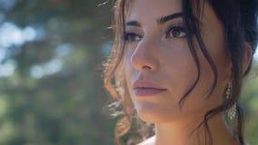 Όμορφο νέο κορίτσι Stunningly με ένα στοχαστικό βλέμμα στο φως του ήλιου απόθεμα βίντεο