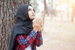 Όμορφο νέο μουσουλμανικό κορίτσι Duaa που προσεύχεται για το Θεό Στοκ Φωτογραφίες