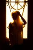 Όμορφο νέο ξανθό κορίτσι με ένα όμορφο πρόσωπο και όμορφα μάτια Δραματικό πορτρέτο μιας γυναίκας στο σκοτάδι Το ονειροπόλο θηλυκό Στοκ Φωτογραφία