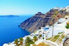Όμορφο νησί Κυκλάδες Ελλάδα Santorini άποψης παραλιών Στοκ Εικόνα