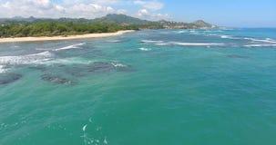 Όμορφο νησί του Ειρηνικού Κύματα θάλασσας στον Ατλαντικό Ωκεανό Εναέριο βίντεο άποψης ματιών πουλιών ` s κηφήνων στο τυρκουάζ νερ απόθεμα βίντεο