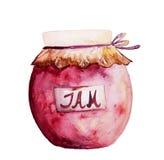 Όμορφο νόστιμο ορεκτικό βάζο μαρμελάδας με την κόκκινη μαρμελάδα φρούτων σύρετε το έγγραφο χεριών watercolours Στοκ Φωτογραφίες