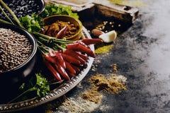 Όμορφο νόστιμο ορεκτικό παντοπωλείο καρυκευμάτων συστατικών για Cookin στοκ φωτογραφία