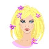 Όμορφο ξανθό κορίτσι με τα λουλούδια στην τρίχα στο επίπεδο ύφος επίσης corel σύρετε το διάνυσμα απεικόνισης απεικόνιση αποθεμάτων