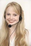 όμορφο ξανθό κορίτσι τηλε&phi Στοκ Εικόνα