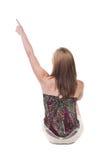 Πίσω άποψη της συνεδρίασης που δείχνει τη γυναίκα όμορφο ξανθό κορίτσι Στοκ φωτογραφία με δικαίωμα ελεύθερης χρήσης