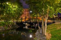 Όμορφο πάρκο πόλεων στα περίχωρα της πόλης Άποψη τη νύχτα, με το backlight, μακροχρόνια έκθεση στοκ φωτογραφίες
