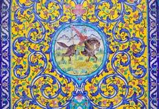 Όμορφο παλαιό διακοσμημένο μωσαϊκό ζωγραφικής στον τοίχο Golestan Στοκ Εικόνες
