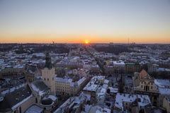 Όμορφο πανόραμα της ιστορικής πόλης Lvov Στοκ Εικόνες