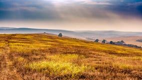 Όμορφο πανόραμα τοπίων φθινοπώρου Μαλακό φως του ήλιου και νεφελώδη ομιχλωδών βουνά ουρανού και στο υπόβαθρο Στοκ εικόνες με δικαίωμα ελεύθερης χρήσης
