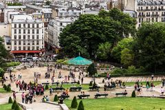 Όμορφο πανόραμα του Παρισιού που βλέπει από το λόφο Montmartre Παρίσι, FR Στοκ φωτογραφία με δικαίωμα ελεύθερης χρήσης