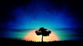 Όμορφο πορτοκαλί τοπίο φύσης σκιαγραφιών δέντρων μοναξιάς ηλιοβασιλέματος διανυσματική απεικόνιση
