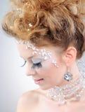 όμορφο πορτρέτο κοριτσιών κινηματογραφήσεων σε πρώτο πλάνο makeup Στοκ Εικόνες