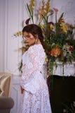 Όμορφο πορτρέτο brunette σε ένα φόρεμα bodoir Στοκ Εικόνες