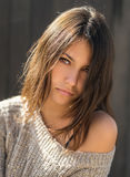 όμορφο πορτρέτο brunette Στοκ Εικόνα