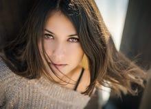 όμορφο πορτρέτο brunette Στοκ εικόνες με δικαίωμα ελεύθερης χρήσης