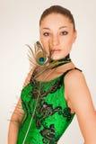 όμορφο πράσινο πορτρέτο κ&omicron Στοκ Φωτογραφία