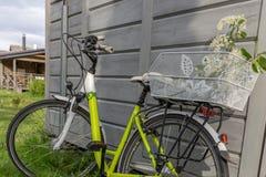 Όμορφο πράσινο ποδήλατο με το καλάθι λουλουδιών Στοκ φωτογραφία με δικαίωμα ελεύθερης χρήσης
