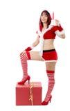 Όμορφο προκλητικό κορίτσι στα κοστούμια Χριστουγέννων που θέτουν στο άσπρο backgr Στοκ Φωτογραφίες