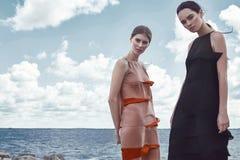 Όμορφο προκλητικό πρότυπο brunette μόδας γυναικών και ξανθός Στοκ εικόνα με δικαίωμα ελεύθερης χρήσης