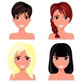 Όμορφο πρόσωπο γυναικών με τα διαφορετικά hairstyles ελεύθερη απεικόνιση δικαιώματος