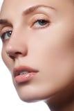 Όμορφο πρόσωπο της νέας ενήλικης γυναίκας το καθαρό φρέσκο δέρμα - που απομονώνεται με Όμορφο κορίτσι με το όμορφες makeup, τη νε Στοκ εικόνα με δικαίωμα ελεύθερης χρήσης