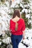 Όμορφο πρότυπο νέων κοριτσιών το χειμώνα σε ένα σταθμευμένο πάρκο σε ένα κόκκινο πουλόβερ Στοκ εικόνες με δικαίωμα ελεύθερης χρήσης