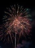 Όμορφο πυροτέχνημα στον ουρανό τη νύχτα Στοκ εικόνα με δικαίωμα ελεύθερης χρήσης