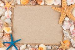 Όμορφο πλαίσιο του σχοινιού και των θαλασσινών κοχυλιών στην άμμο Στοκ εικόνα με δικαίωμα ελεύθερης χρήσης