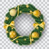 Όμορφο ρεαλιστικό διάνυσμα του κωνοφόρου στεφανιού με τους χρυσούς βολβούς και διακοσμημένος με τις κορδέλλες και των αστεριών στ ελεύθερη απεικόνιση δικαιώματος