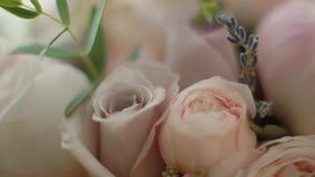 Όμορφο ρόδινο υπόβαθρο ανθοδεσμών Γάμος και βίντεο ημέρας του βαλεντίνου απόθεμα βίντεο