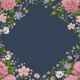 Όμορφο ρόδινο πλαίσιο τριαντάφυλλων στο μπλε διάνυσμα Στοκ Φωτογραφία