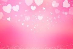 Όμορφο ρόδινο υπόβαθρο καρδιών bokeh Στοκ Εικόνα