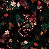 Όμορφο σκοτεινό δάσος στο άνευ ραφής διάνυσμα σχεδίων με το φίδι, WI ελεύθερη απεικόνιση δικαιώματος