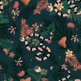 Όμορφο σκοτεινό δάσος στο άνευ ραφής διάνυσμα σχεδίων με το φίδι, WI διανυσματική απεικόνιση