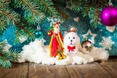 Όμορφο σκυλί που κρατά ένα κιβώτιο δώρων στο στόμα από την κορδέλλα για τα Χριστούγεννα στοκ εικόνες με δικαίωμα ελεύθερης χρήσης