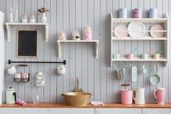 Όμορφο σπίτι, εσωτερικό, άποψη της κουζίνας Στοκ Φωτογραφία