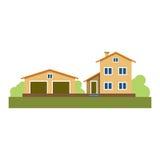 όμορφο σπίτι Η ιδιοκτησία townhouse Κτήριο Επιχείρηση 10 eps απομονωμένος διάνυσμα Στοκ Φωτογραφίες