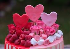 Όμορφο σπιτικό κέικ με τα ρόδινα και κόκκινα μούρα κρέμας και σμέουρων Στοκ φωτογραφία με δικαίωμα ελεύθερης χρήσης