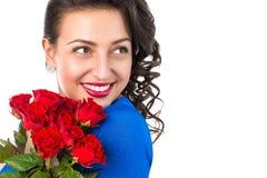 όμορφο στενό πορτρέτο που χαμογελά επάνω τη γυναίκα Στοκ φωτογραφίες με δικαίωμα ελεύθερης χρήσης