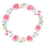 Όμορφο στεφάνι watercolor λουλουδιών Στοκ εικόνα με δικαίωμα ελεύθερης χρήσης
