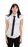 Όμορφο στοχαστικό κορίτσι με το πουκάμισο και το δεσμό Στοκ Φωτογραφίες